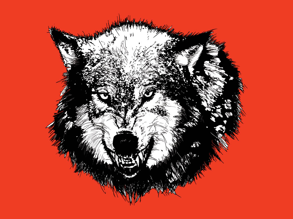 Angry Wolf Head Graphi...