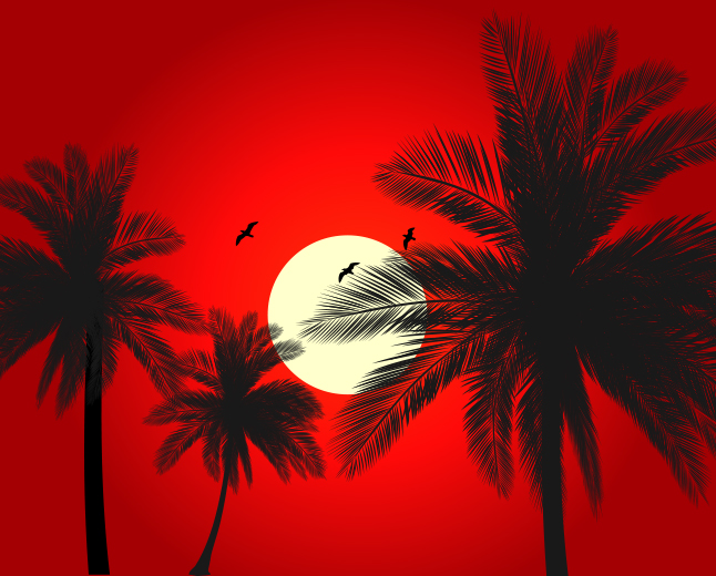 Red Palm Tree Sunset Vector