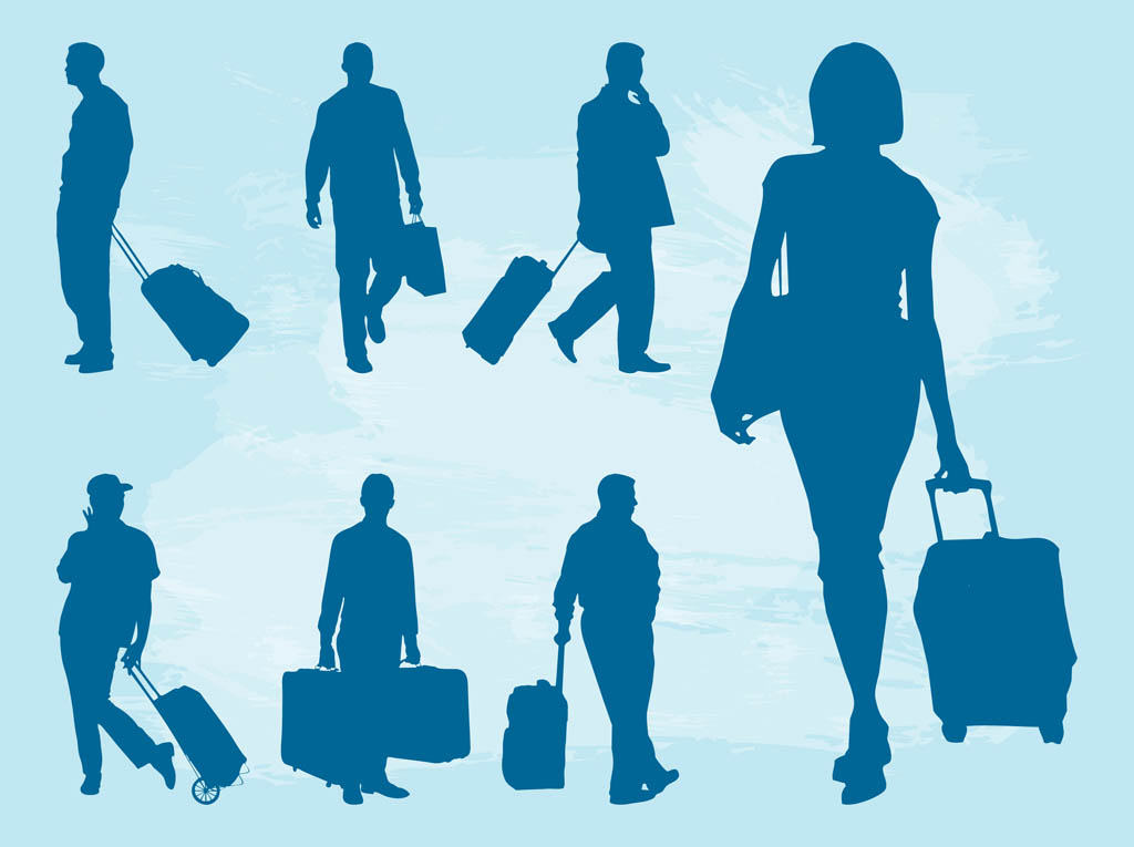 Traveling People Silhouettes Vector Art Graphics