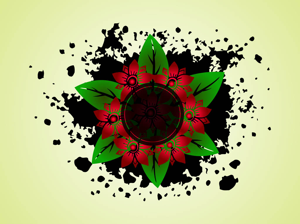 Splatter Flowers Vector