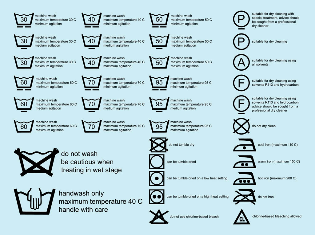 Laundry Symbols Vector Art Graphics Freevector