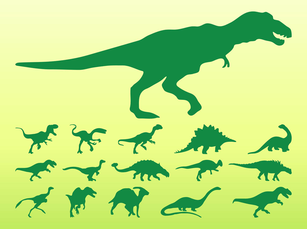dinosaurs silhouette set vector art & graphics | freevector