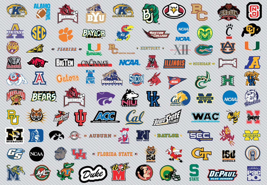 collegiate football college football logos and names