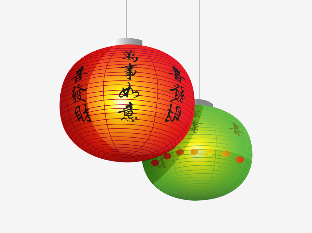 Chinese lanterns vector for Chinese vector