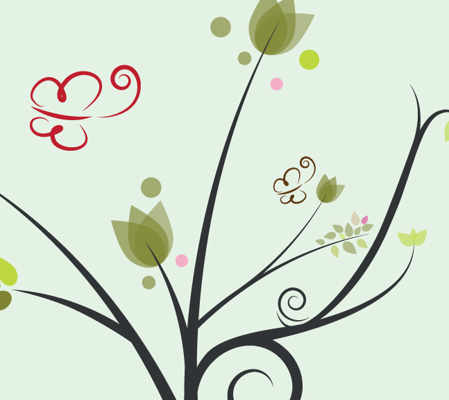 Floral Butterfly Vector Background