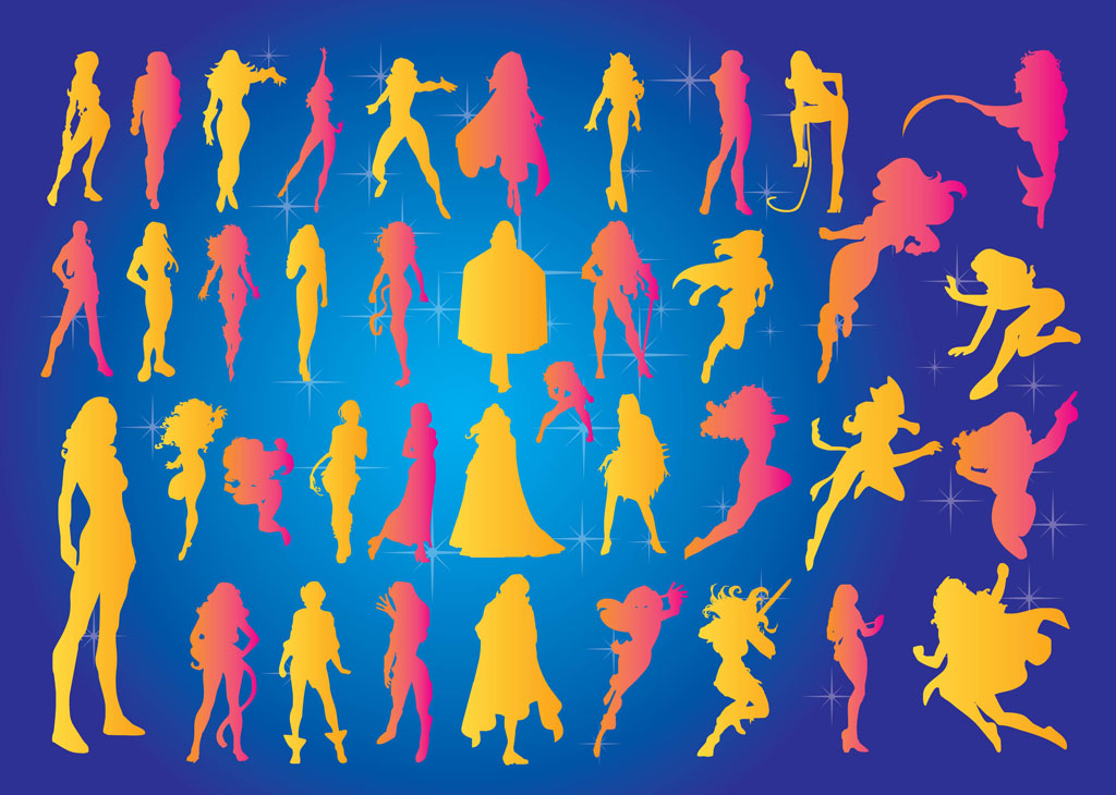 Superheroines Vectors
