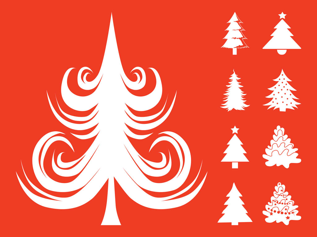 Christmas Tree Decorations Vector Free : Christmas trees set vector art graphics freevector