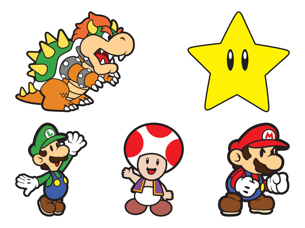 Super 4 Cartoon Characters : Super mario characters vector art graphics freevector