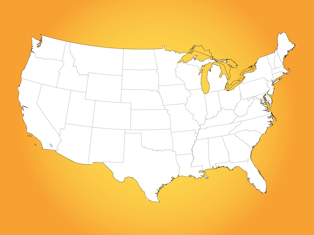 Usa Map Vector Art Graphics Freevectorcom - Map of us vector