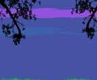 Purple Landscape Background Vector