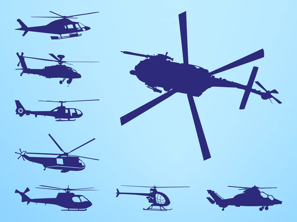 Helicopters Silhouettes Vector Graphics