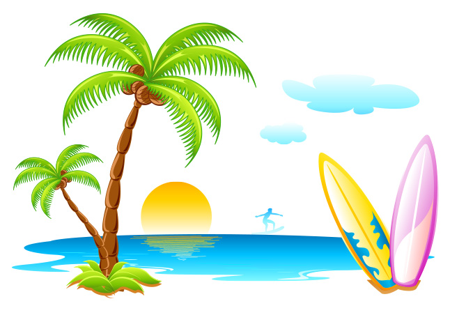 Enjoy Tropical Summer Holidays Backgrounds Vector 04 Free: Beach Seascape Vector Vector Art & Graphics