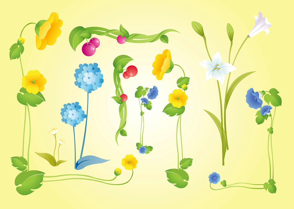 Beautiful Flowers Vectors