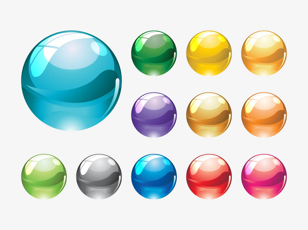 Cartoon Colored Marbles : Glass marbles vectors vector art graphics freevector