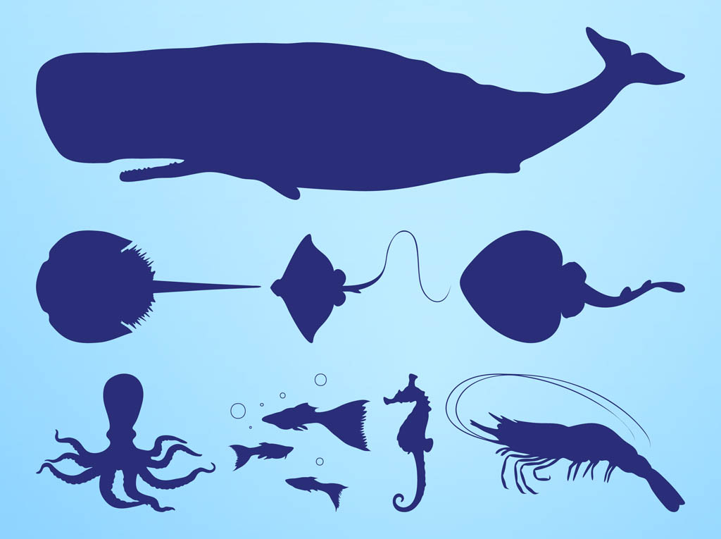 Sea Creatures Silhouettes