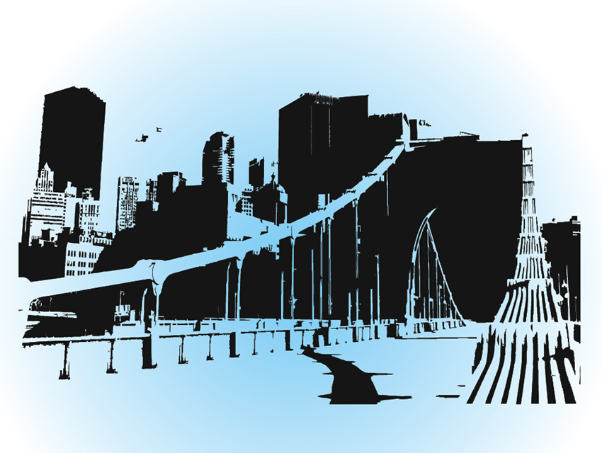 city skyline vector art graphics