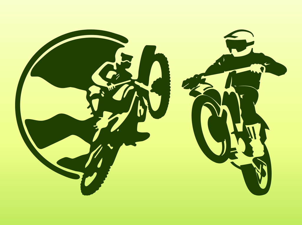 Off Road Bikers Silhouettes