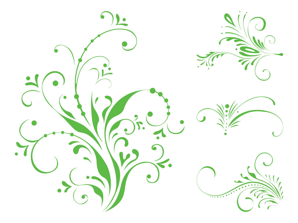 swirling floral scrolls vector art graphics
