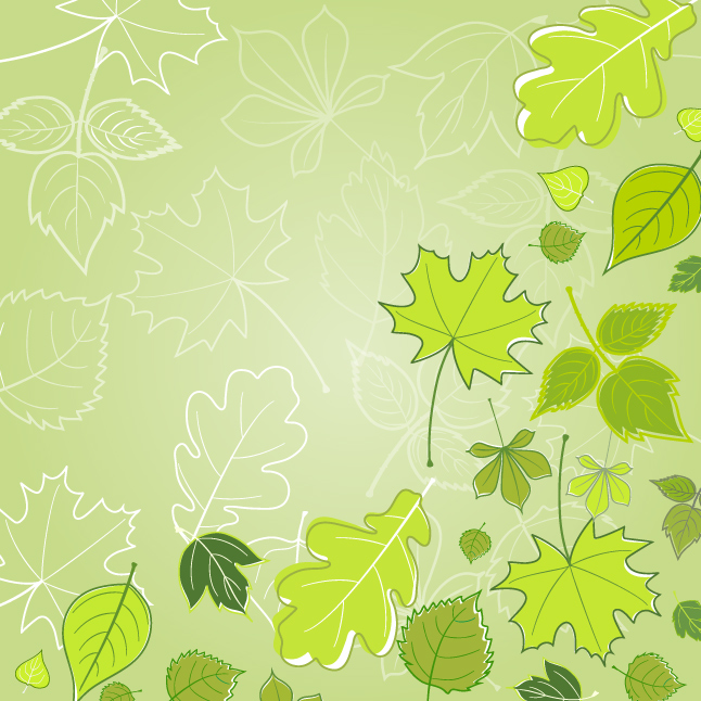 Green Leaves Vector Wallpaper