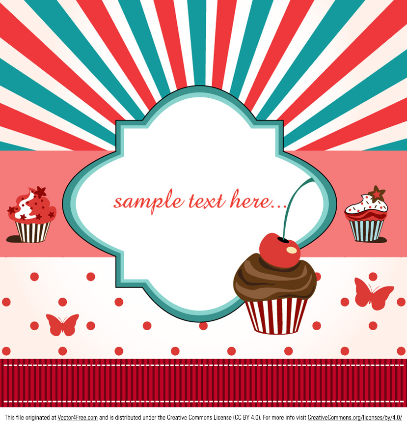 Cup Cake Vector Background