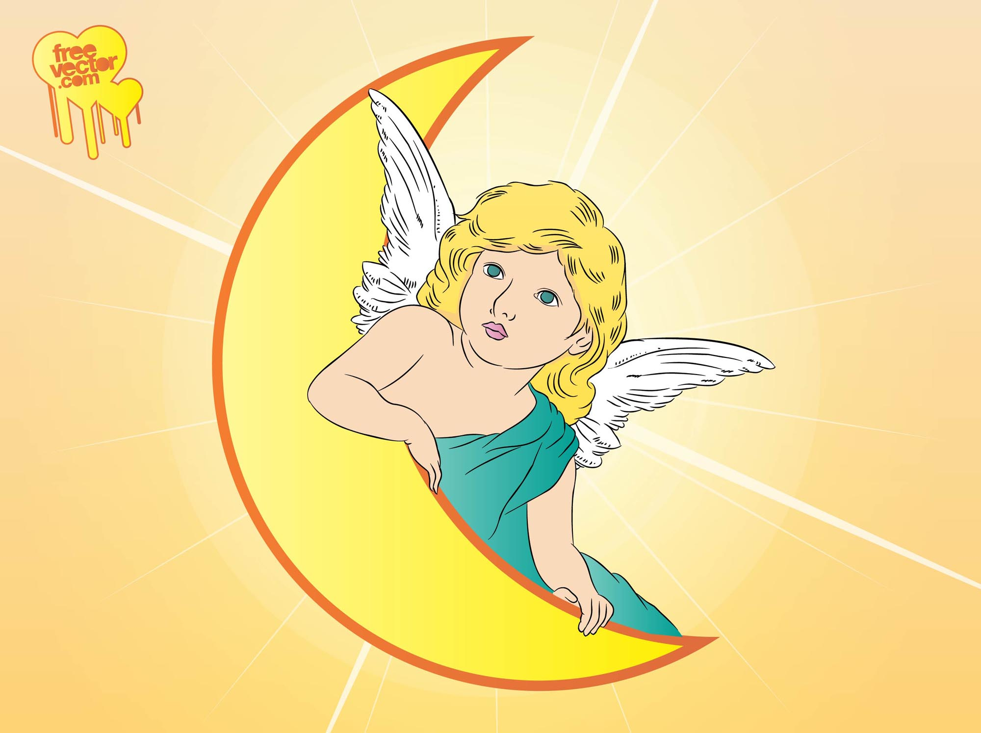 Angel Moon Vector
