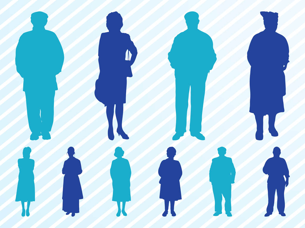 Elderly People Silhouettes Set