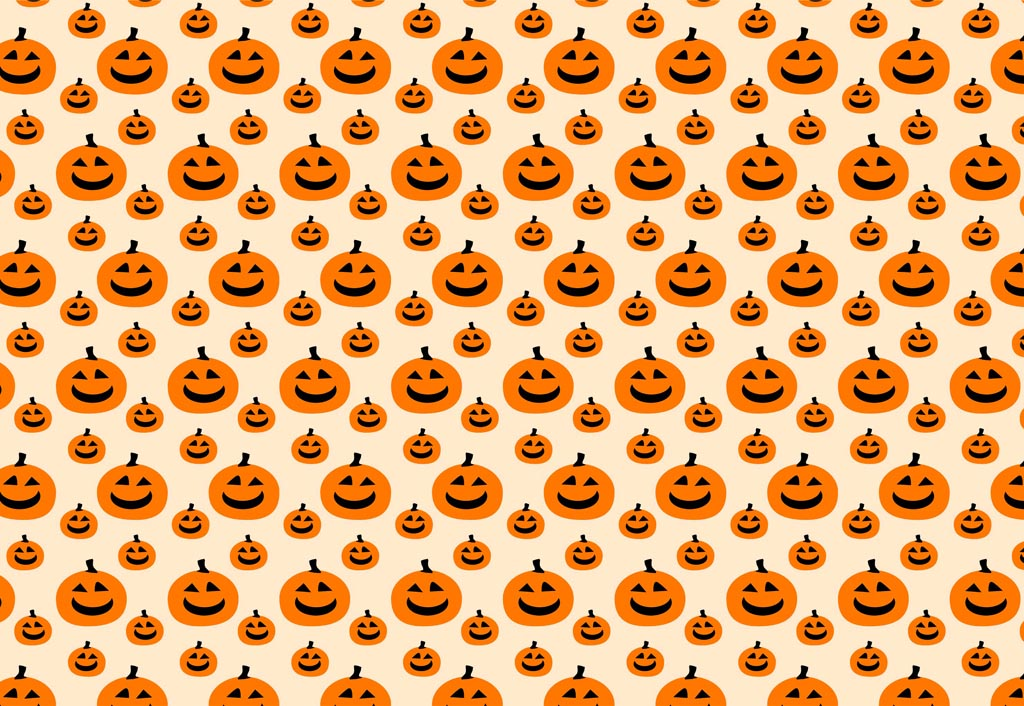 Carved pumpkin vector pattern with jack-o'-lantern graphics.