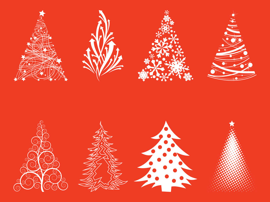 Christmas Tree Silhouette Vector Free Christmas Trees Silhouette Set