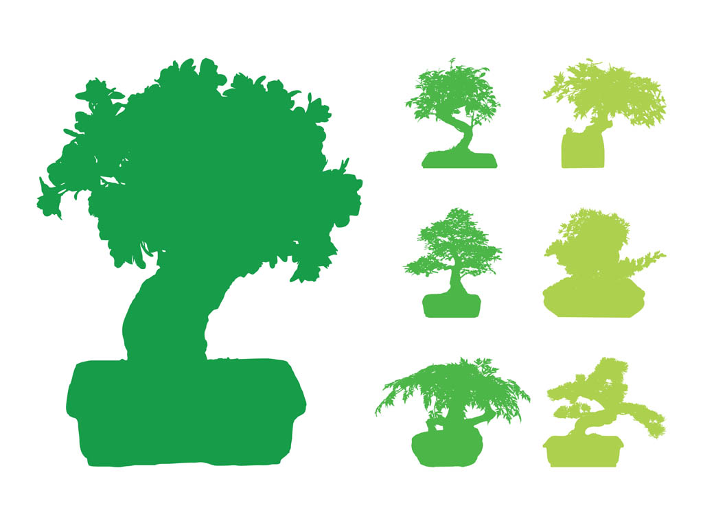Bonsai Trees Silhouettes