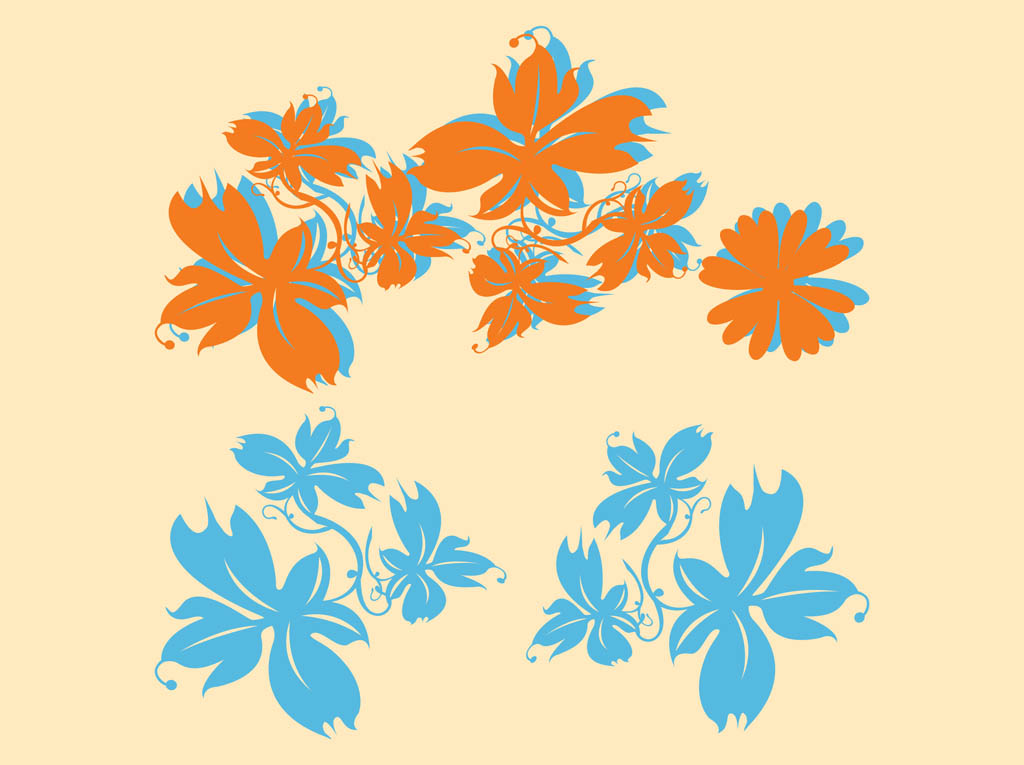Flower Silhouettes Vector