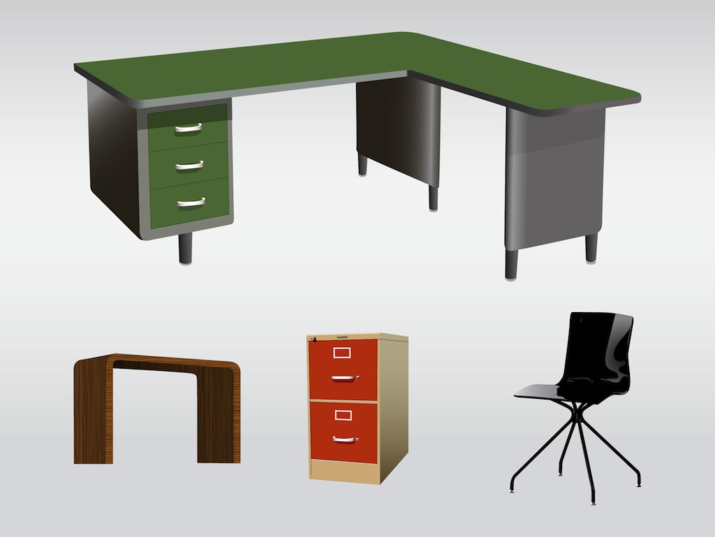 Office furniture vector art graphics for Office design vector