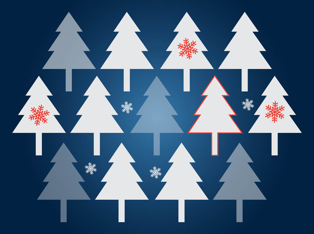 Christmas Tree Decorations Vector Free : Christmas trees vector background
