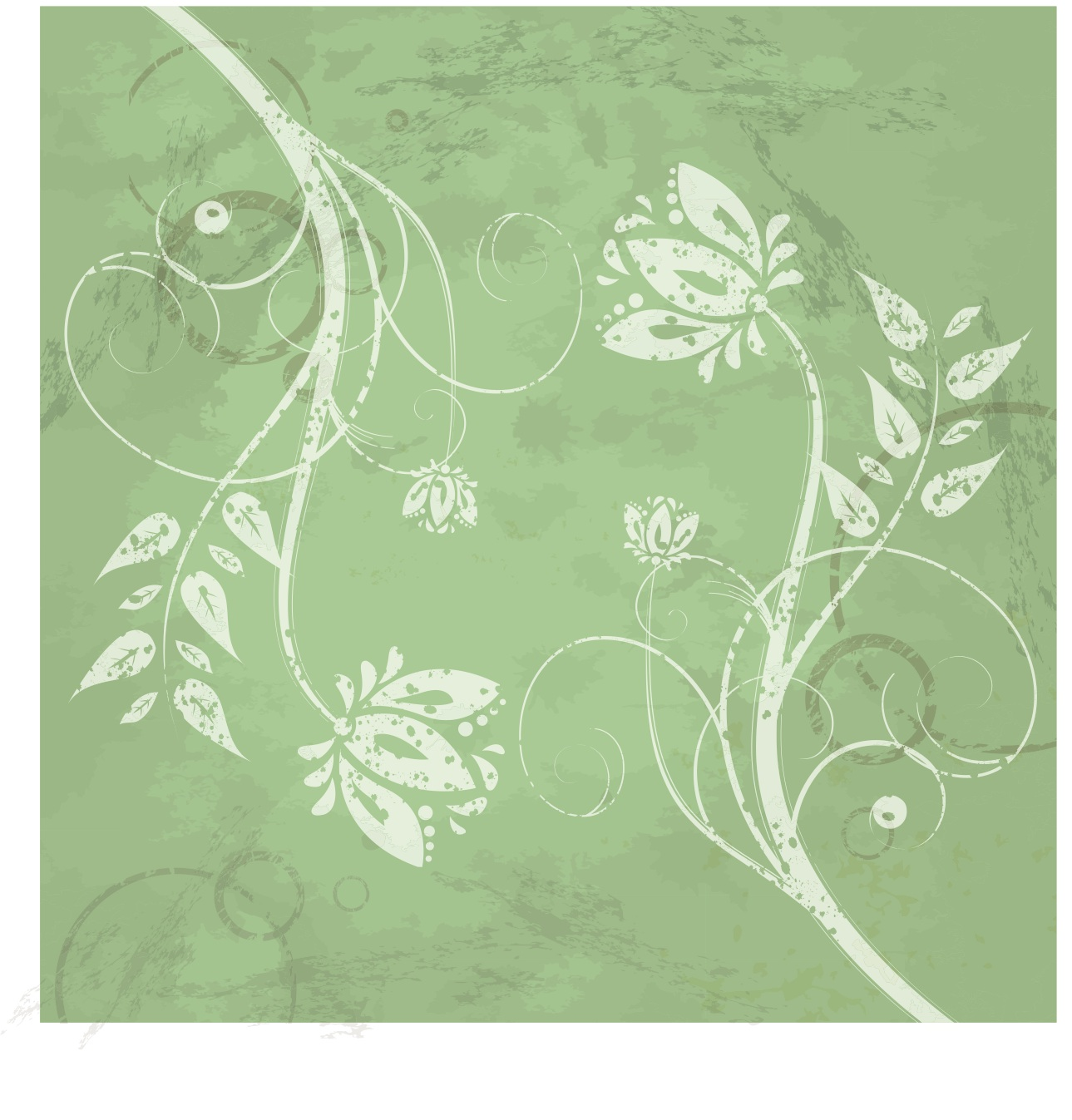 Green Grungy Floral Swirl Vector