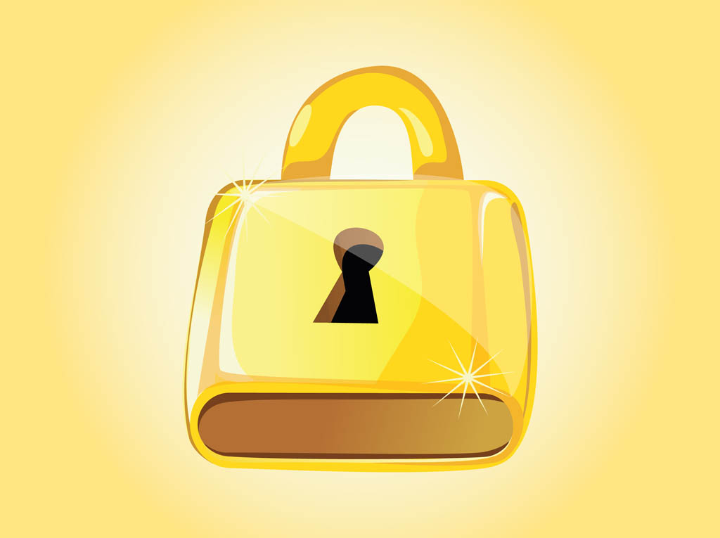 Golden Padlock Vector
