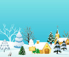 Christmas Village Vector Illustration