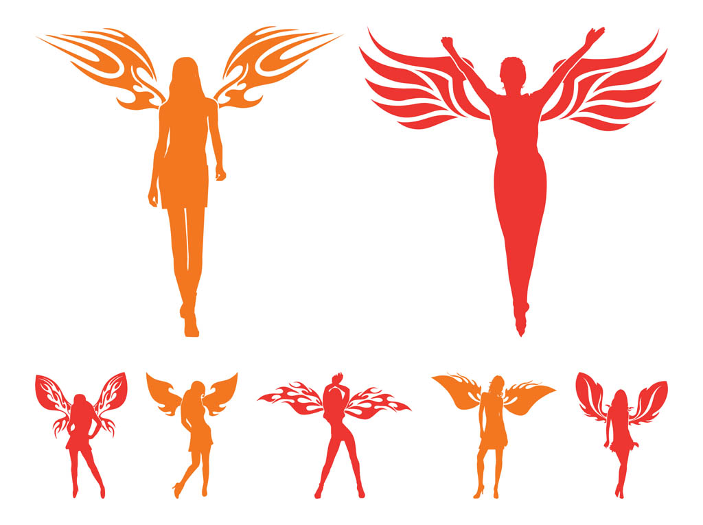 Girls With Wings Silhouettes