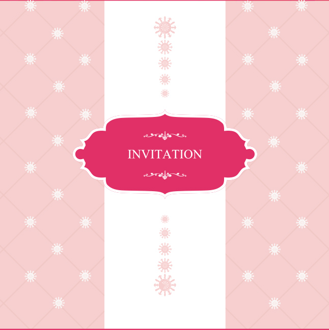 Feminine Pink Invitation Vector
