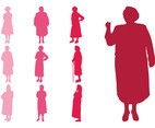 Elderly Women Silhouettes