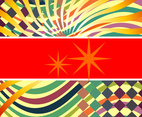 Retro Rainbow Wave and Star Vector Banners