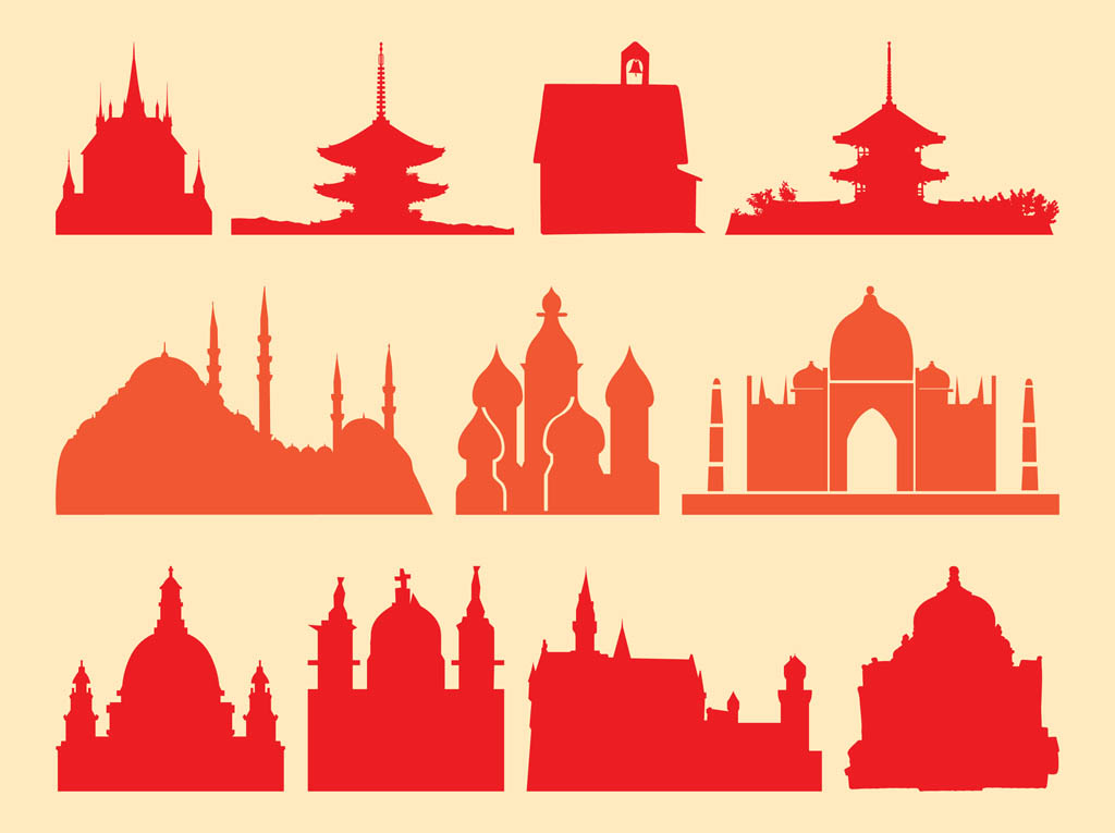 Religious buildings vector art graphics for Religious buildings in india