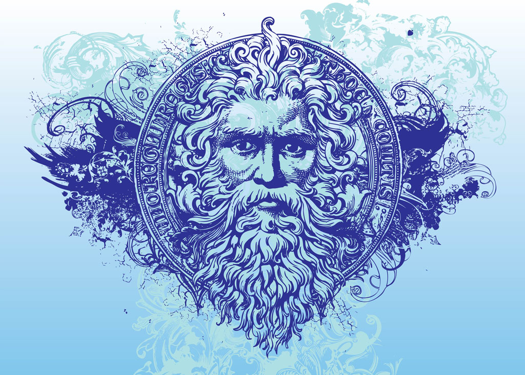 ancient god ancient god vector art graphics of majestic man with long ...