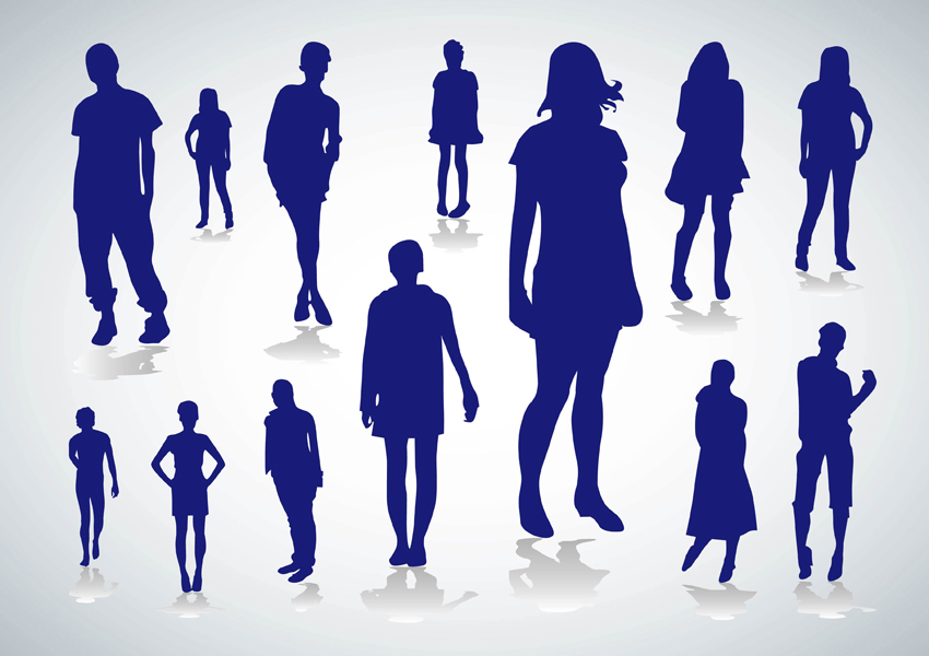 Traveling People Silhouettes Vector Art Graphics: People Silhouettes Vectors Vector Art & Graphics