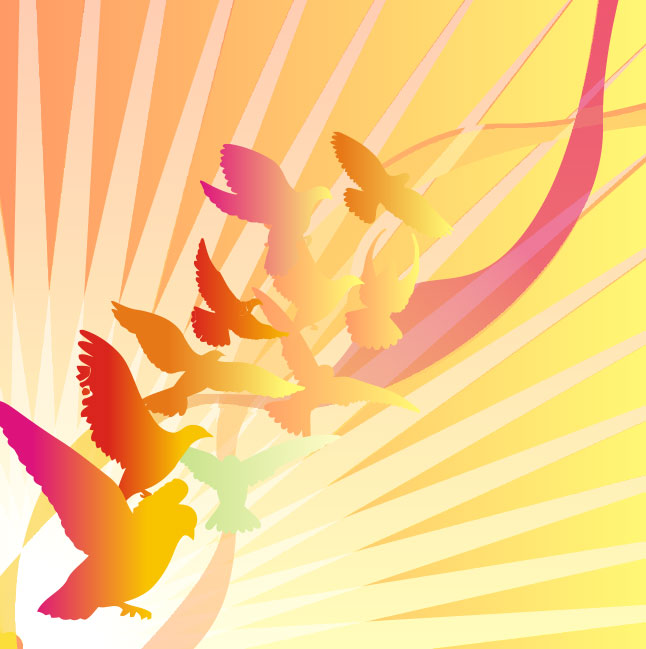 Bright Bird Sunburst Vector Background