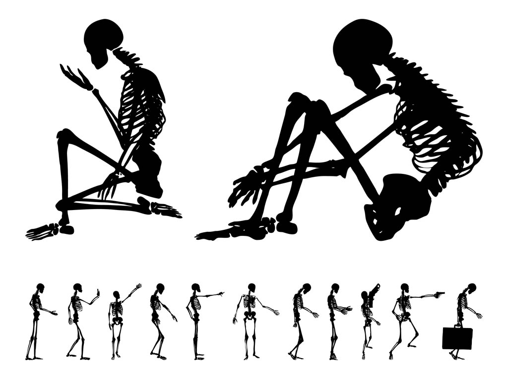 human skeleton set vector art & graphics | freevector, Skeleton