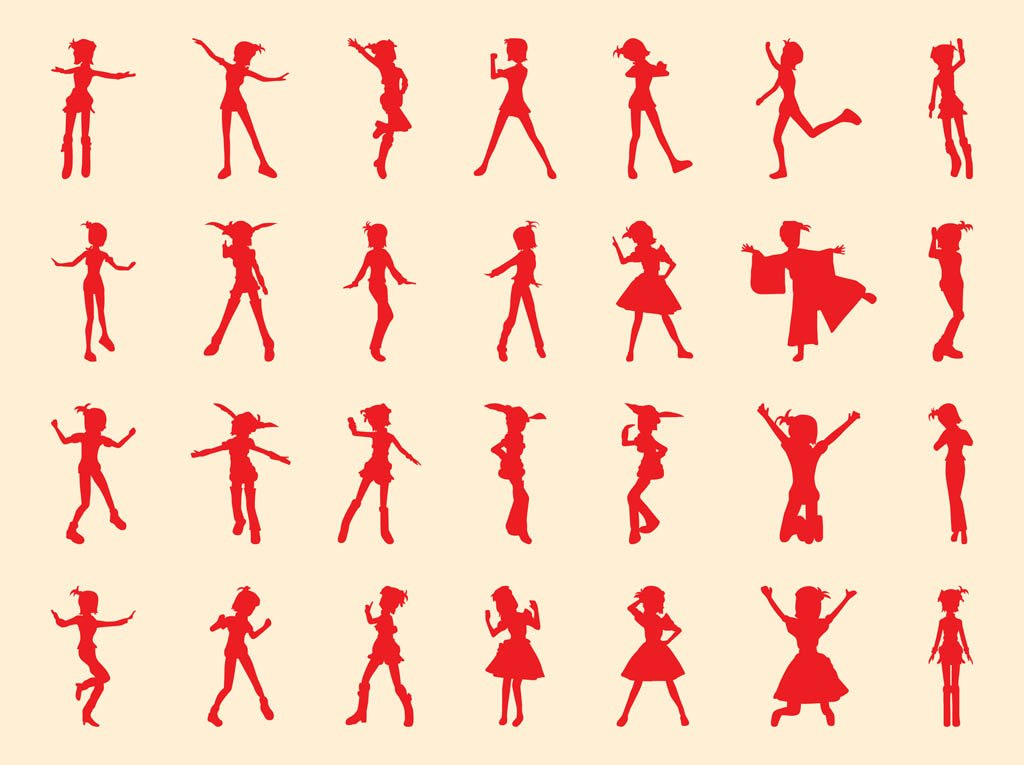 Happy Girl Silhouettes Set