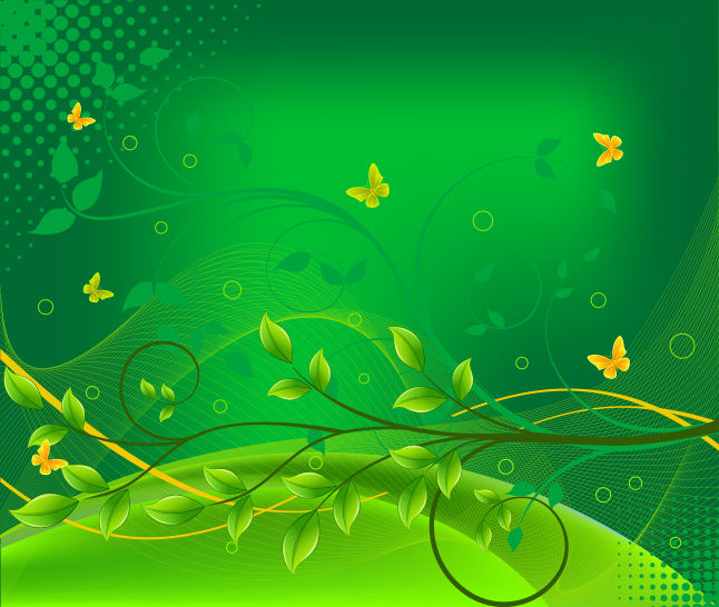 Green Butterfly Floral Swirl Vector Background
