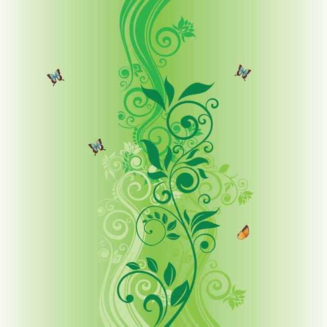 Green Swirl Butterfly Vector