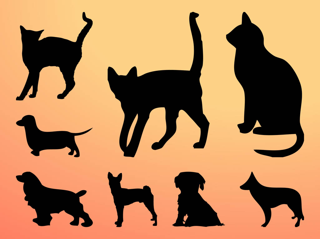 Cats And Dogs Silhouettes