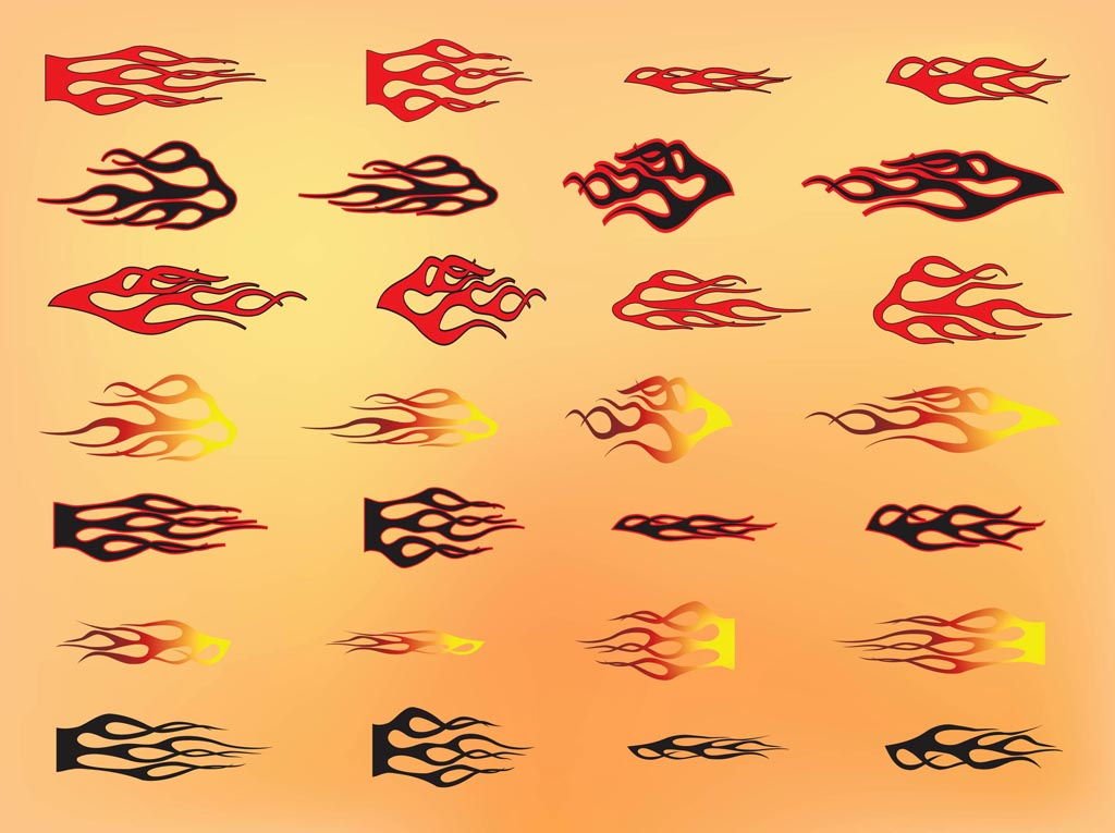 how to draw fire flames hot metal vector