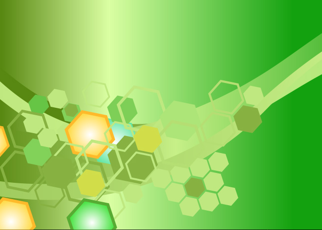Bright Green Hexagon Background Vector